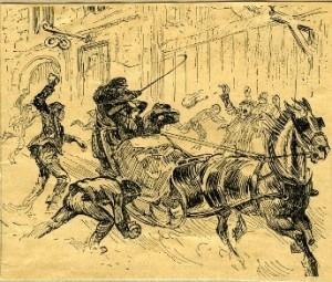 De två första frälsningsofficerarna på väg till Ladugårdslandsteatern_teckning_Gunnar_Widholm