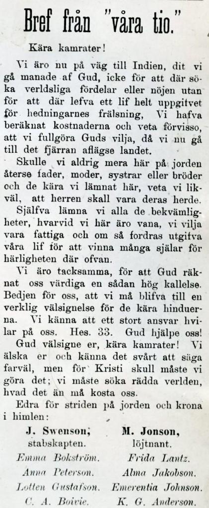 Brev från de tio i Stridsropet 1887