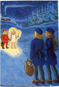 Flickscouterna Julkort
