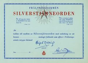 Silverstjärnans Certifikat_omkr_1955